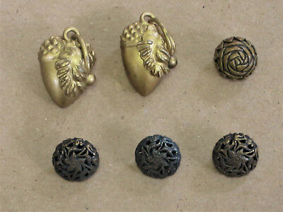Lot of Six Antique/Vintage Buttons_Openwork Flower and Hand Crafted Acorns