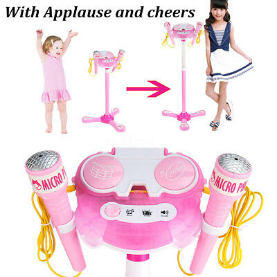 Karaoke Machine With Microphones Adjustable Stand Music Kids Play Toys Play AU