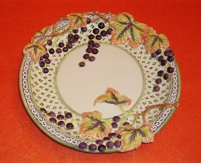 Fitz & Floyd Essentials Embossed Plate Grape Clusters, Leaves, Lattice 10 3/4""