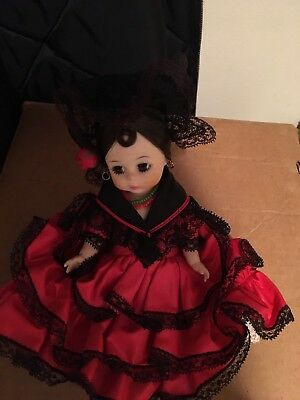 "Madame Alexander Vintage Spanish Girl Doll Red Dress 7"" Sleep Eyes"