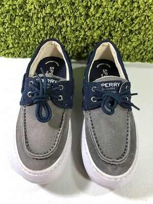 7d5435a088a43 Sperry Top-Sider Mens Cutter 2-Eye Ballistic Grey/Navy Shoe STS15303 SIZE 8  M