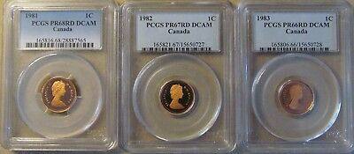 Canada lot of 3 PCGS proof deep cameo small cents 1981-82-83
