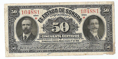 Mexico Revolution, 50 centavos 1915 Provisional Government Sonora