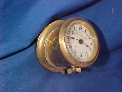 1930s BRASS 8 Day AUTOMOBILE DASHBOARD Mounted CLOCK