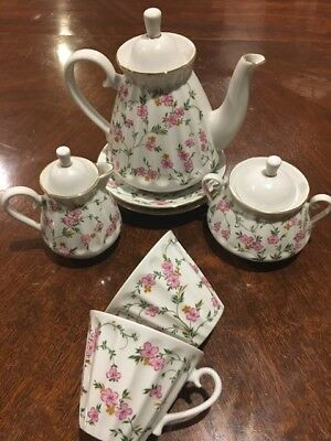 Lomonosov Antique Russian Tea Set Pink Floral