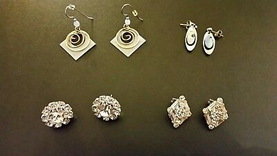Lot of 4 Pairs of Vintage Earrings Silver and Rhinestones - One Pair of Marvella