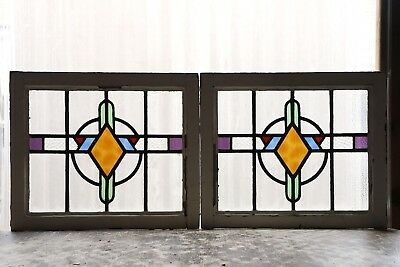 Pair of Antique Stained Glass Windows Five Colors Stunning Art Deco (3066)