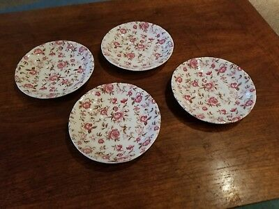 "LQQK lot of 4 Vintage Nasco  ""Rose Garden"" Pink Chintz saucer cups plates Japan"