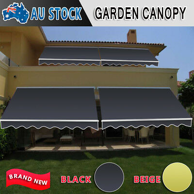Outdoor Folding Arm Awning Retractable Sunshade Canopy Shade Sail Black 2 Size