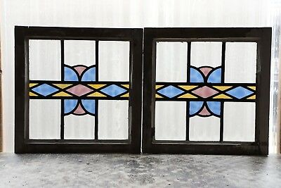 Pair of Antique Stained Glass Windows Brilliant Three Color Art Deco  (3070)