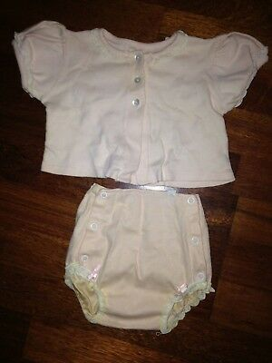 Vintage 1950's Gibbs Pink Baby Girl Shirt With Matching Diaper Cover-Size 12 Mon