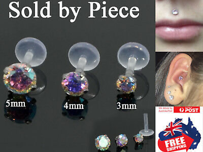 Acrylic 16g Labrets Tragus Studs Rings with 3-5mm CZ Gem Monroe Lip Earrings 1pc