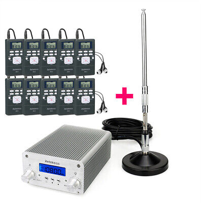 Wireless Broadcasting System FM Transmitter w/ 10Receiver for Church Translation