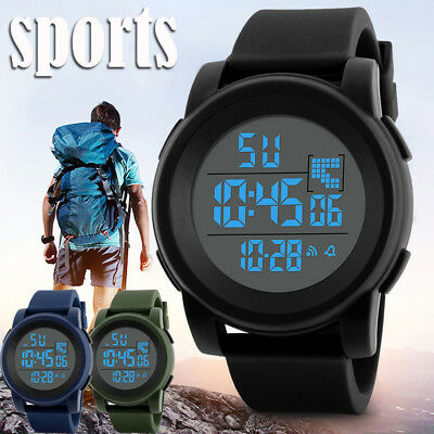 Men Watch Analog LED Digital Date Alarm Waterproof Sport Army Quartz Wrist Watch