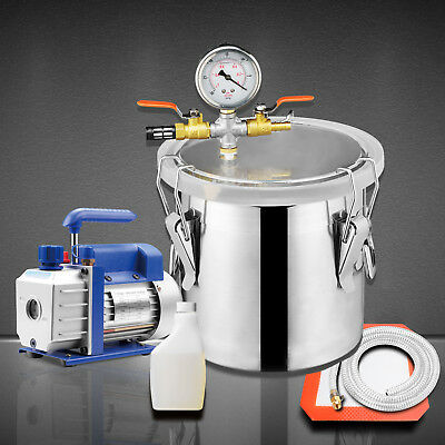 2 Gallon Vacuum Chamber + 3 CFM Single Stage Pump Degassing Silicone Kit