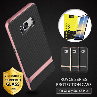 For Galaxy S8 / S8 Plus Shockproof Slim Bumper Phone Case+Black Tempered Glass