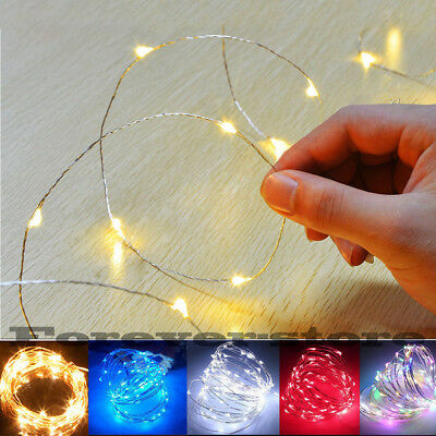 20/50/100 LED Battery Micro Rice Wire Silver Fairy String Lights Party White/RGB