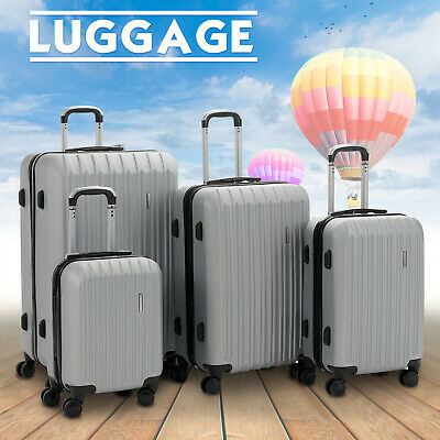 "4 Piece ABS Luggage Set Light Travel Case Hardshell Suitcase 16""20""24""28"" Silver"