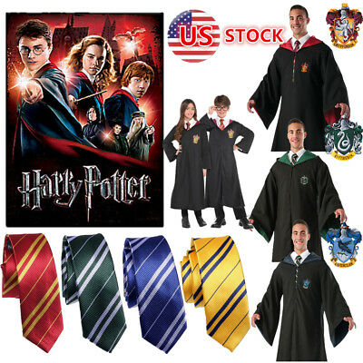 US Harry Potter Cape Gryffindor/Slytherin/Hufflepuff/Ravenclaw Robe Cloak/Tie