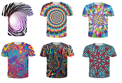 Womens/men's Psychedelic stripes 3D print Short Sleeve Casual T-Shirts S-5XL I66
