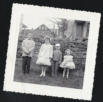 Old Antique Vintage Photograph Four Adorable Children Wearing Easter Outfits