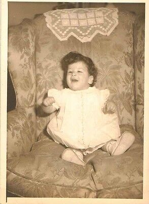 Antique Vintage Photograph Adorable Baby Sitting in Old Time Retro Chair 1946