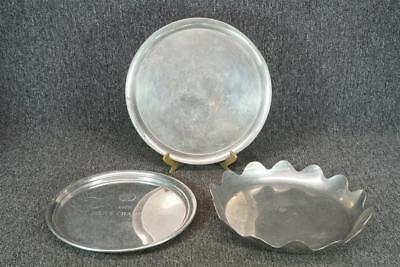 Set Of 3 Silver Plated Serving Trays