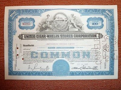 United Cigar-Whelan Stores Corp., 1937, 100 Shares common,  TABAK