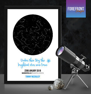 Personalised star/sky map - perfect present christening/new born/boy/girl/ gift