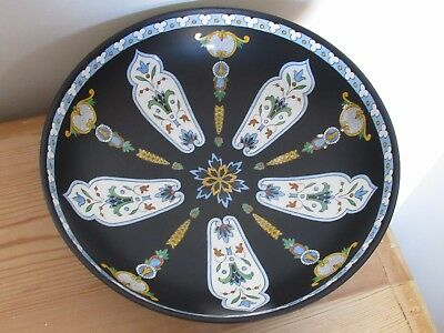 Rare Unusual Crown Devon Fieldings Pottery Syrian Art Deco Black Ceramic Bowl
