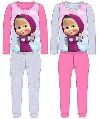 GIRLS MASHA AND THE BEAR PYJAMAS PJS Cotton