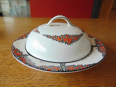 Crown Ducal, Orange tree small covered muffin dish 17.5 cm dia, Art Deco