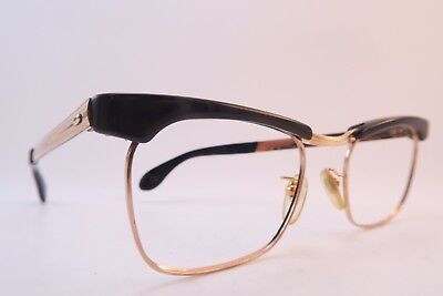 Vintage 50s eyeglasses frames gold filled brown acetate MOREL made in France