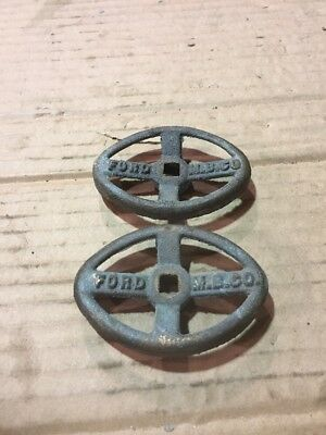 2 Ford M.B.CO. Valve Handles Old Vintage Antique Water Works Steampunk Knobs bib