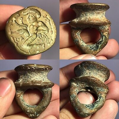 Wonderful  Old Stunning Medieval Bronze Stamp With Face seal