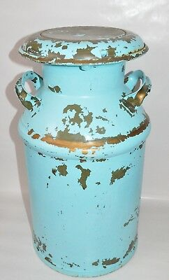 LARGE Vintage Antique  Metal Milk Cream Can Jug with Handles Removable Lid