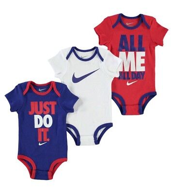 NIKE 3 Pack Infant Set - Age 0-6 Months - 3 Bodysuits - Brand New & Boxed