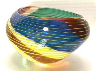 VTG Multicolor Large Art Glass Handcrafted Vase