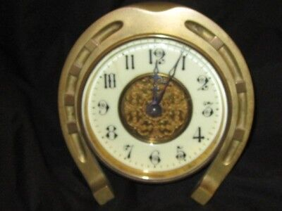 Antique French Brass Bronze Horseshoe Carriage Table Clock Fine Condition