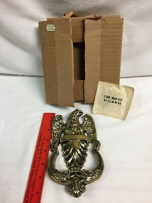 "VINTAGE 6"" AMERICAN EAGLE BRASS DOOR KNOCKER NOS original box"