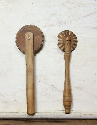 2 Classic Antique Hand Carved Pie Crimper / Jagging Wheel Circa 1900 Treen Wood