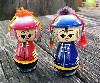 "Vintage Pair of  Oriental 4""  Hand Painted Bobble Head Dolls"