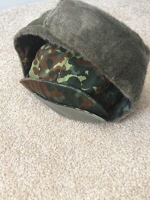 Genuine German Army Military Winter Pile Cap. BW army flecktarn camo  cap