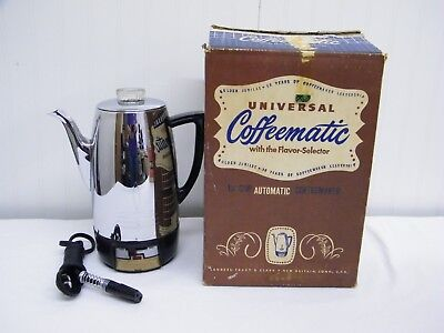 Vtg Universal Coffeematic Chrome 10Cup Automatic Percolator Coffeemaker w/Box