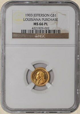 1903 $1 Jefferson Gold Dollar Louisiana Purchase MS66 PL, Proof Like, NGC