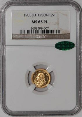 1903 $1 Jefferson Gold One Dollar MS65 PL, Proof Like, NGC ~ CAC