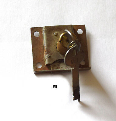 Vintage Brass & Steel Al1 Corbin Cabinet Desk Drawer Furniture Lock W/two Keys