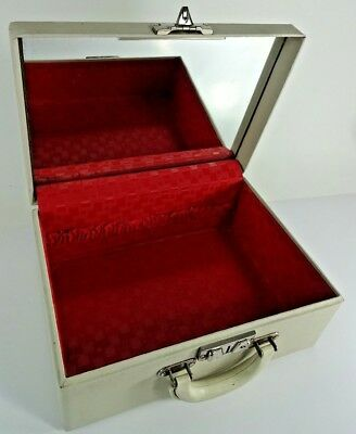 VTG - Retro Mid Century White LUCE Cosmetic Train Case Tote w/ Mirror - NO KEYS