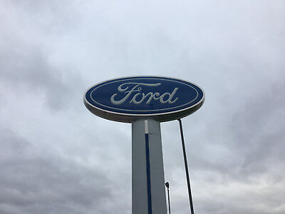 Large Pole Mounted Ford Blue Oval Dealership Sign