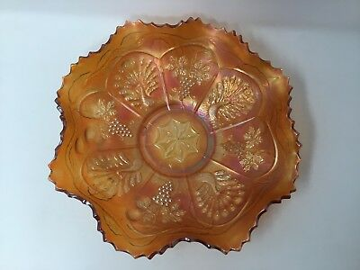 Antique Carnival Glass Fenton Peacock & Grape Marigold Bowl